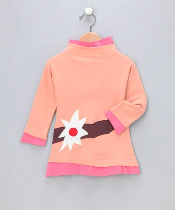 Salmon Mock Neck Organic Dress - Infant