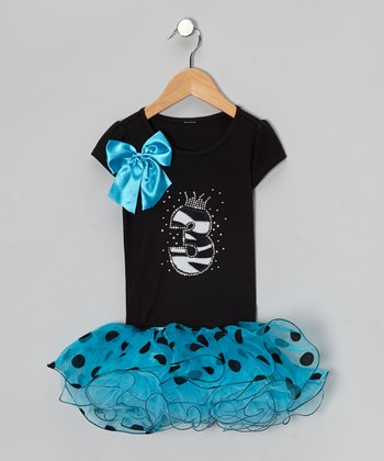 Blue '3' Polka Dot Tutu Dress - Toddler