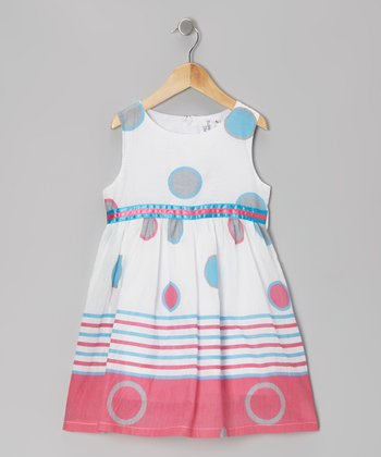 Pink & Blue Circle Dress - Girls