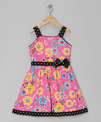 Pink & Black Daisy Dress - Girls