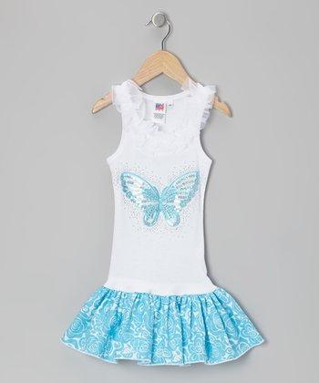 Blue Butterfly Rose Frill Drop-Waist Dress - Toddler & Girls