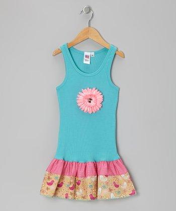 Turquoise & Bird Daisy Frill Drop-Waist Dress - Toddler & Girls