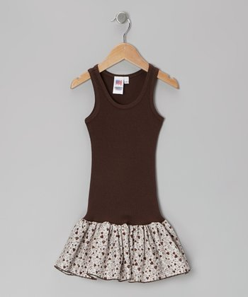 Brown Heart Frill Drop-Waist Dress - Toddler & Girls
