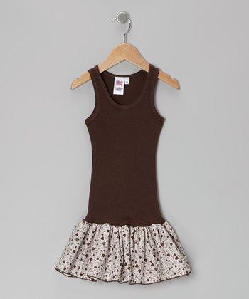 Brown Heart Frill Drop-Waist Dress - Toddler & Girls