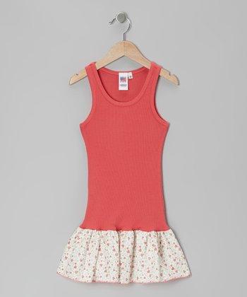 Peach Heart Frill Drop-Waist Dress - Toddler & Girls