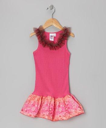Hot Pink Ombre Frill Drop-Waist Dress - Toddler & Girls