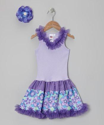 Purple Blossom Frill Drop-Waist Dress - Toddler & Girls