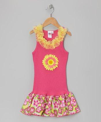 Hot Pink & Yellow Daisy Frill Drop-Waist Dress - Toddler & Girls
