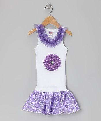 Purple & Rosette Frill Drop-Waist Dress - Toddler & Girls