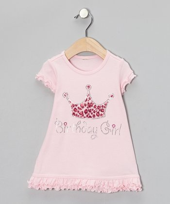 Light Pink Leopard 'Birthday Girl' Dress - Infant