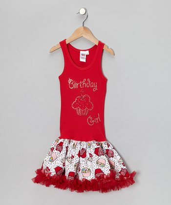 Red 'Birthday Girl' Dress - Toddler & Girls