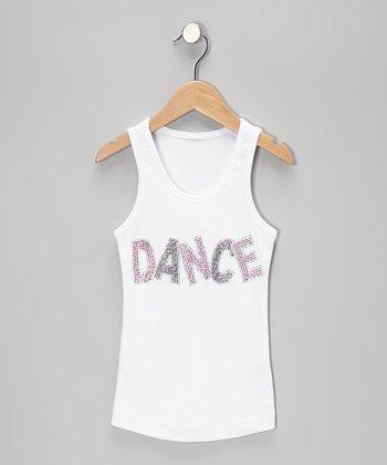Bubblegum Diva White & Neon Pink 'Dance' Tank - Toddler & Girls