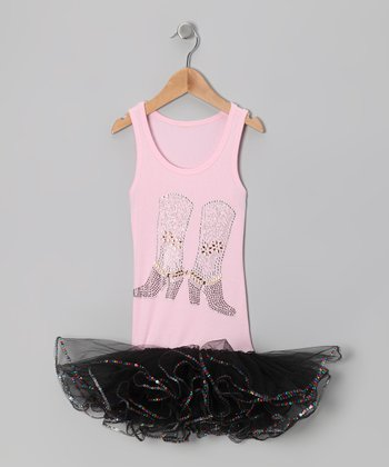 Pink & Black Sequin Cowgirl Boot Tutu Dress - Girls