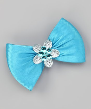 Blue Flower Bow Clip
