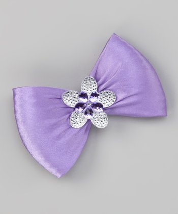Purple Flower Bow Clip