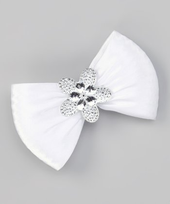 White Flower Bow Clip