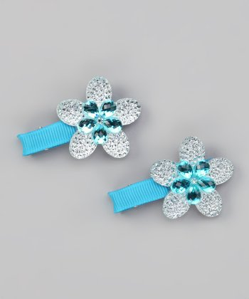Blue Sparkle Flower Clip - Set of Two
