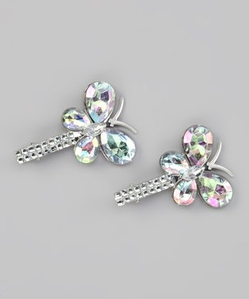 Clear Rhinestone Butterfly Clip Set