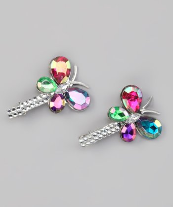 Rainbow Rhinestone Butterfly Clip - Set of Two