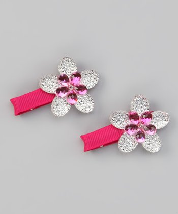 Hot Pink Sparkle Flower Clip - Set of Two