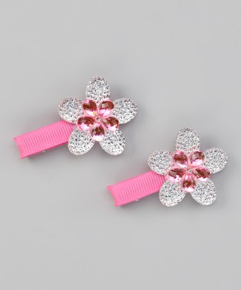 Pink Sparkle Flower Clip - Set of Two