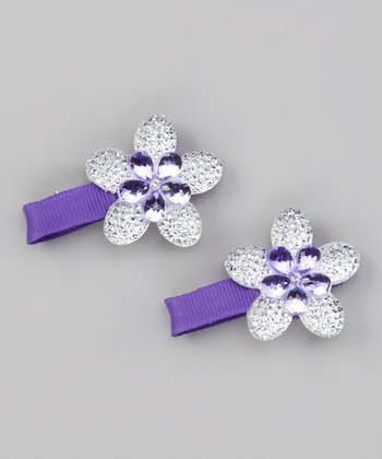 Purple Sparkle Flower Clip - Set of Two