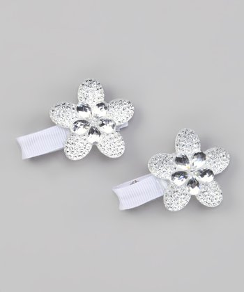 White Sparkle Flower Clip - Set of Two