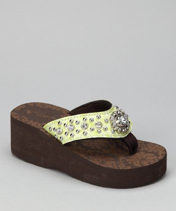 Lime Stone & Flower Bling Wedge Sandal