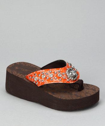 Orange Flower Bling Wedge Sandal