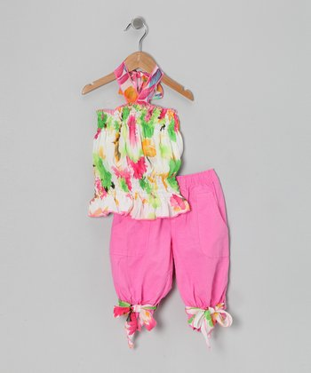 Pink & Green Floral Tunic & Capri Pants - Toddler & Girls