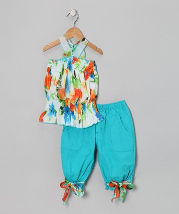 Blue Floral Tunic & Capri Pants - Toddler & Girls
