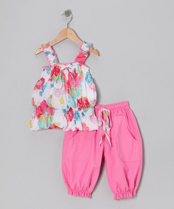 Pink & White Floral Tunic & Capri Pants - Toddler & Girls
