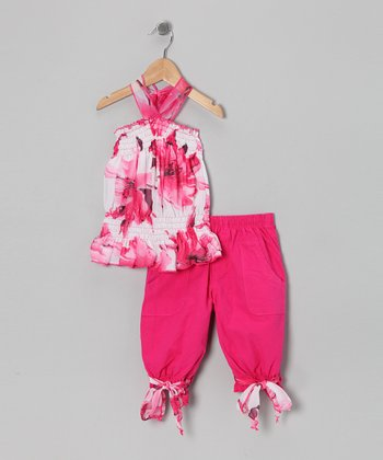 Hot Pink Floral Tunic & Capri Pants - Toddler & Girls