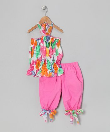 Pink Floral Tunic & Capri Pants - Toddler & Girls