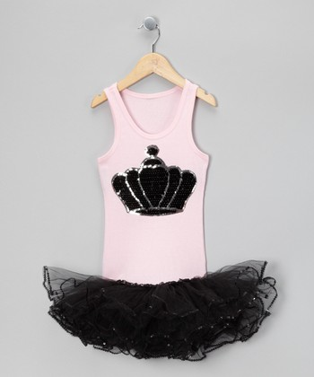 Light Pink & Black Crown Tutu Dress - Girls