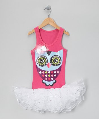 Hot Pink & White Feather Owl Tutu Dress - Girls
