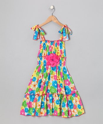 Pink & Blue Daisy Dress - Toddler & Girls