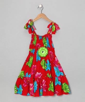Red & Blue Daisy Dress - Toddler & Girls