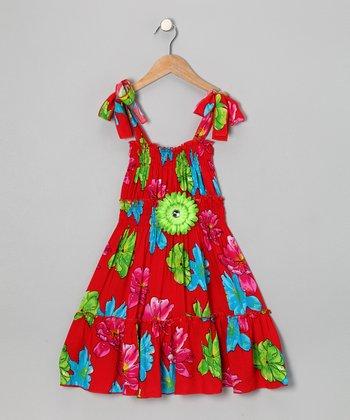 Red & Blue Daisy Dress - Toddler & Girls