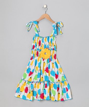 Yellow & Blue Daisy Dress - Toddler & Girls