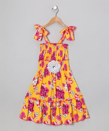 Yellow & Hot Pink Floral Daisy Dress - Toddler & Girls