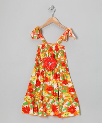 Orange & Red Daisy Dress - Toddler & Girls