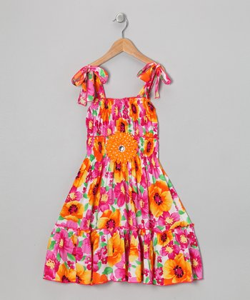 Orange & Hot Pink Daisy Dress - Toddler & Girls