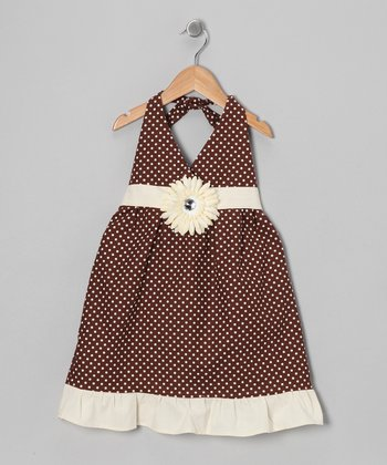 Brown & Ivory Polka Dot Daisy Halter Dress - Toddler