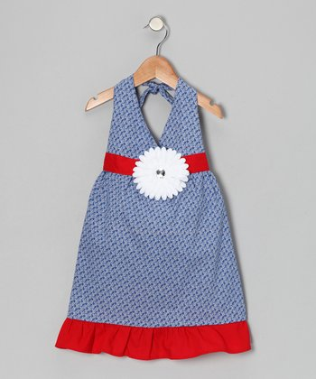 Navy & White Daisy Halter Dress - Toddler & Girls