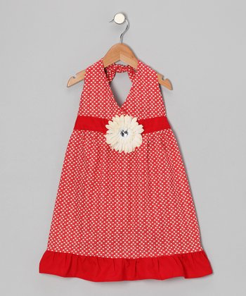 Red & Ivory Daisy Halter Dress - Toddler & Girls