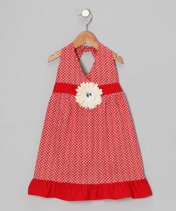 Red & Ivory Daisy Halter Dress - Toddler & Girls