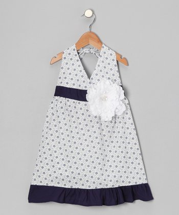 White & Navy Daisy Halter Dress - Toddler & Girls