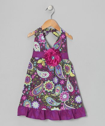 Purple Floral Daisy Halter Dress - Toddler
