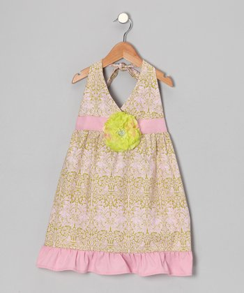 Grass & Pink Daisy Halter Dress - Toddler & Girls